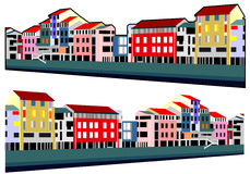 Houses embankment. Illustration vector buildings Stock Photography