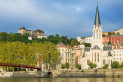 Houses on the embankment in Lyon Royalty Free Stock Image