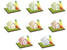 Houses energy efficiency. Illustration of houses with energy efficiency bars, showing the letter A to G Stock Illustration