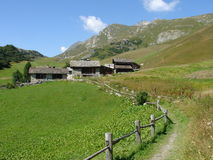Houses in the Engadine mountains Stock Images