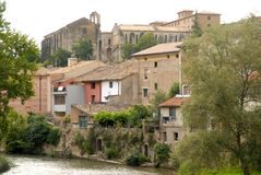 Houses in Estella. The town of Estella is located along the river Ega, between the foothills of the Cantabrian Mountains and the western Pyrenees. His name Royalty Free Stock Photography