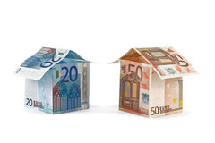 Houses of EURO. Isolated on white background Stock Photos