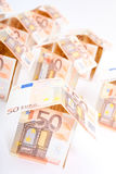 Houses from euro banknotes Royalty Free Stock Images