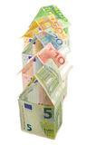 Houses of euro banknotes Stock Photography