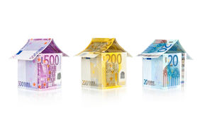 Houses from Euro bills. Abstract architecture - Houses from Euro bills Royalty Free Stock Image