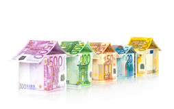 Houses from Euro bills. Abstract architecture - Houses from Euro bills Royalty Free Stock Photos