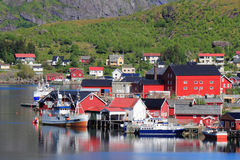 Houses and ferries  of  Reine in Lofoten Royalty Free Stock Images