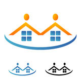 Houses and figuresheads logo Royalty Free Stock Photos