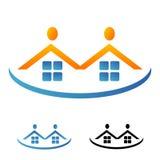 Houses and figuresheads logo Royalty Free Stock Photos
