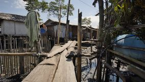 Houses in the Filipino slums for poor people. Wooden bridges from planks on high water. Poverty of people and families.