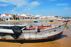 Houses and Fishing boat (spain) Royalty Free Stock Photos