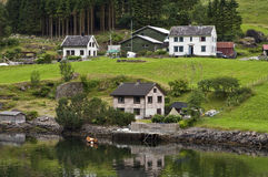 Houses on the fjord. Some houses on the Nearofjord, one of the worlds most beautiful and dramatic fjords. Norway Royalty Free Stock Image