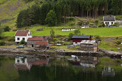 Houses on the fjord. Some houses on the Nearofjord, one of the worlds most beautiful and dramatic fjords. Norway Royalty Free Stock Photography