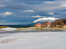 Houses and fjord in Harstad in winter - Troms, Norway Stock Images