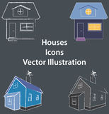 Houses flat and 3D  illustration - Icons or Logo use - web, apps, coloured. Vector illustration of 4 pieces houses icons in different shapes and colours for web Royalty Free Stock Photos