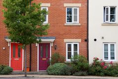 Houses or flats in row, England stock photography