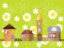 Houses on a flower glade. Vector Stock Photo