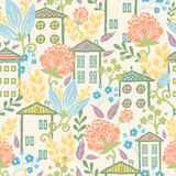 Houses among flowers seamless pattern background Stock Photos