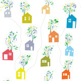 Houses and flowers seamless pattern Stock Photography