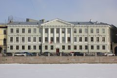 Houses on Fontanka embankment in winter in St. Petersburg, Russia stock photo