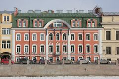 Houses on Fontanka embankment in winter in St. Petersburg, Russia royalty free stock photo
