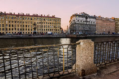 The houses on the Fontanka River in St. Petersburg Royalty Free Stock Photo