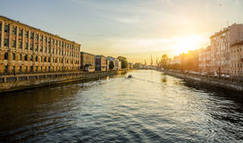 The houses on the Fontanka River in St. Petersburg at sunset Stock Image