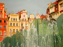 Houses and Fountain. Interesting shot of polish houses and fountain royalty free stock image