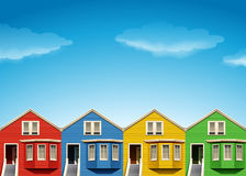 Houses in four colors Stock Image