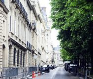 Houses on french streets of Paris. citylife concept, black balco. Ny lace close up Royalty Free Stock Image