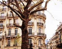 Houses on french streets of Paris. citylife concept, black balco. Ny lace close up Royalty Free Stock Photography