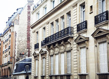 Houses on french streets of Paris. citylife concept, black balcony lace. Close up Royalty Free Stock Photo
