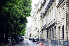 Houses on french streets of Paris. citylife concept postcard Royalty Free Stock Image