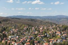 Houses in front of the mountain Brocken in Wernigerode. In the Harz in Saxony-Anhalt Royalty Free Stock Images