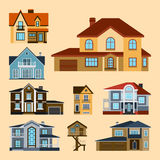 Houses front view vector illustration building architecture home construction estate residential property roof set. Houses front view vector illustration. Houses Royalty Free Stock Photos