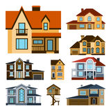 Houses front view vector illustration building architecture home construction estate residential property roof set. Houses front view vector illustration. Houses Royalty Free Stock Images