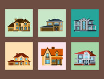 Houses front view vector illustration building architecture home construction estate residential property roof set. Houses front view vector illustration. Houses Royalty Free Stock Photo