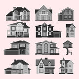 Houses front view vector illustration building architecture home construction estate residential property roof set. Houses front view vector illustration. Houses Stock Photo
