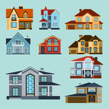Houses front view vector illustration building architecture home construction estate residential property roof set. Houses front view vector illustration. Houses Stock Image