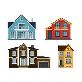 Houses front view vector illustration building architecture home construction estate residential property roof set. Houses front view vector illustration. Houses Royalty Free Stock Photography
