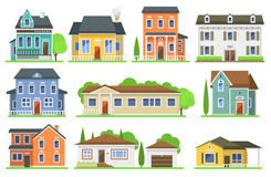 Houses front view vector illustration. Flat style modern constructions Royalty Free Stock Photography