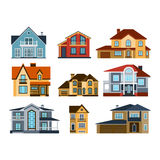Houses front view vector illustration Royalty Free Stock Photos