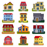 Houses front view vector illustration Stock Photos