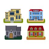 Houses front view vector illustration Royalty Free Stock Photo