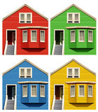 Houses. Frontview of houses with different color paints Royalty Free Illustration