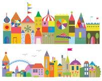 Houses funny banner - fairytale town Stock Photos