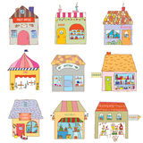 Houses of the funny town set - companies and offic. Es illustration Royalty Free Stock Photos