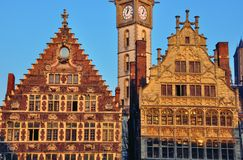 Houses of Ghent on sunset Stock Photography