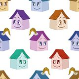 Houses girl and boy, seamless background Stock Photo