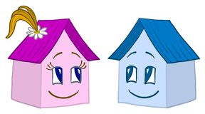 Houses girl and boy, vector Royalty Free Stock Photo